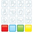Buttons with Hand Signs — Stock Vector