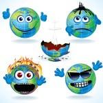 Cartoon Earth Icons 1 — Stock Vector