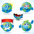 Cartoon Earth Icons 2 - Stock Vector