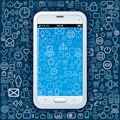 Smartphone on Web Pattern — Stock Vector