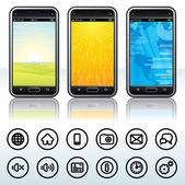 Smartphone with Contour Icons — Stock Vector