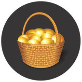 Easter Basket with Gold Eggs — Stock Vector