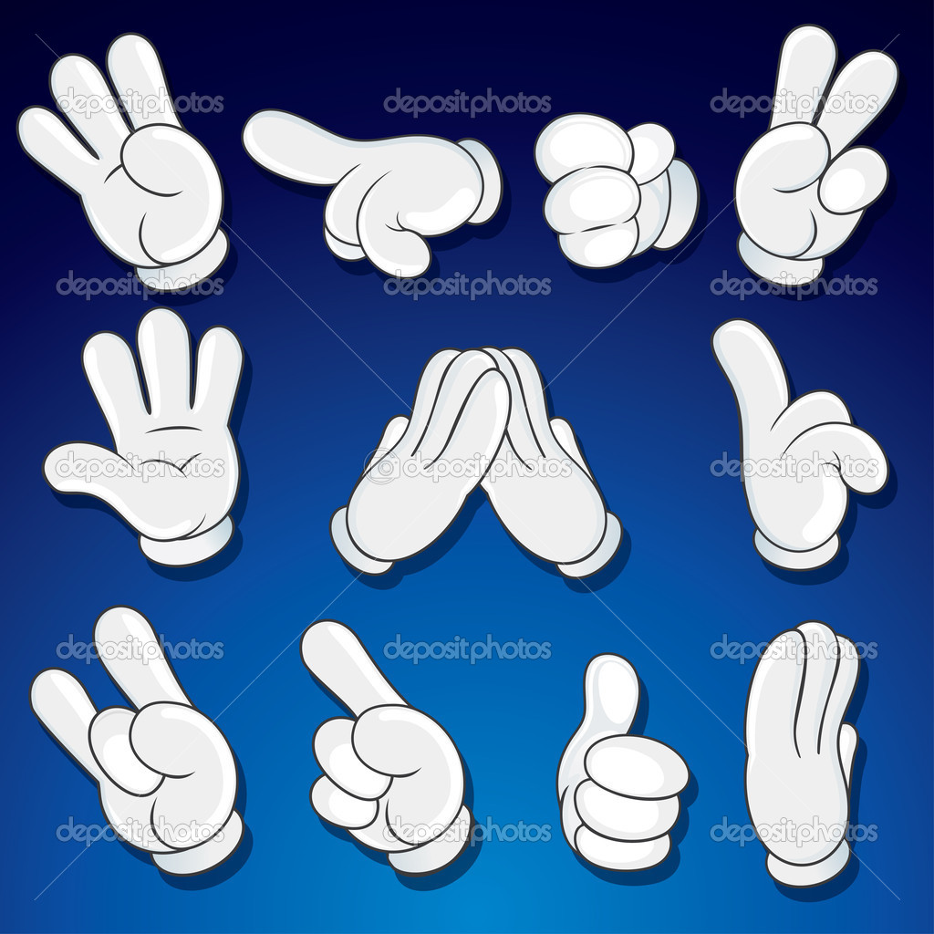 Comics Cartoon Hands, Gestures, Signs vector clip art — Stock Vector #10579567