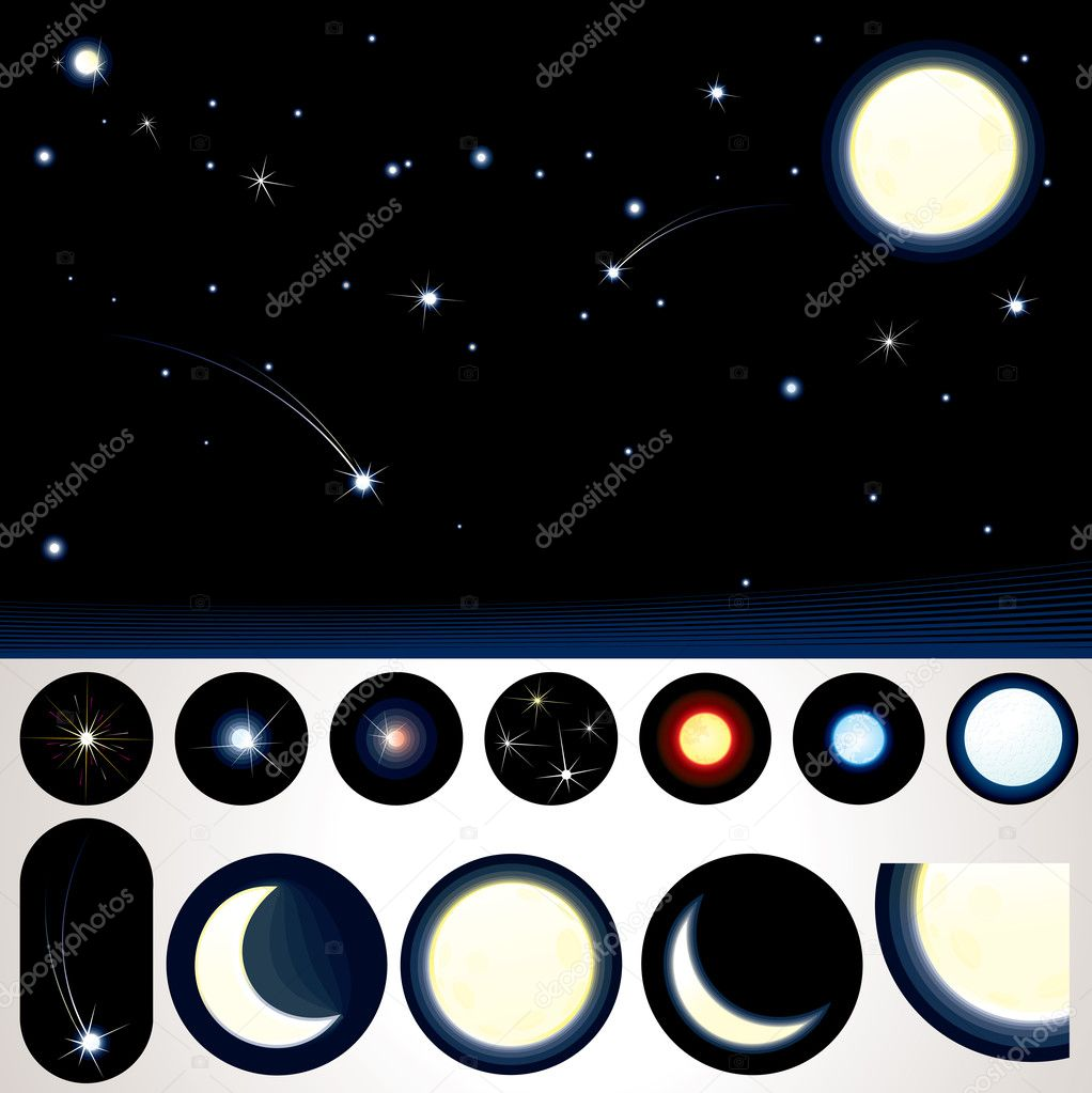 Customizable Night Sky, Collection of Stars, Moons and other Night Elements to create your own night sky — Stock Vector #10579581