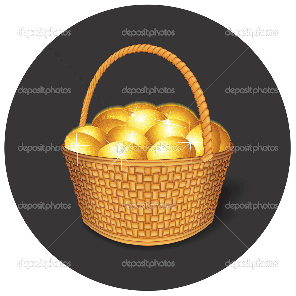 Vector Easter Basket with Golden Eggs — Stock Vector #10579641