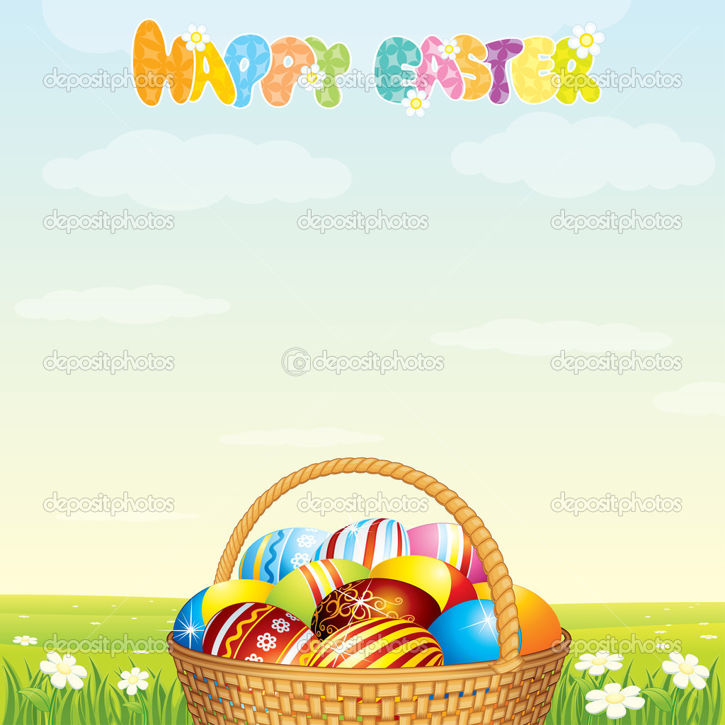 Easter Card Template. Wicker Basket with Colorful Eggs on Spring Meadow — Stock Vector #10579791