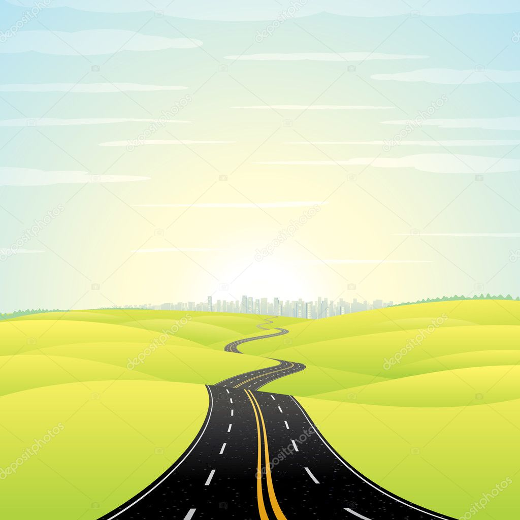 Abstract Illustration of Landscape with Highway. Picture of Road Going Toward the Skyscrapers in a Modern City at Sunrise. Colorful Vector Image.  Stock Vector #10579805