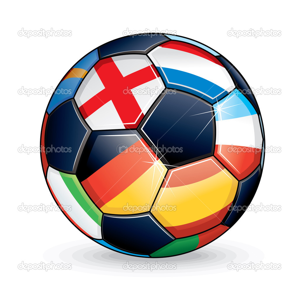 Soccer Ball with Flags from the Countries Participating in Euro 2012 Cup. — Stock Vector #10600129