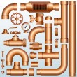 Brass Pipeline parts - Stock Vector