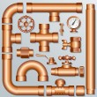 Brass Pipeline - Stock Vector