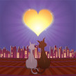 Cats in love — Stockvectorbeeld