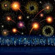 Fireworks in the city - Stock Vector