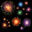 Fireworks set - Stock Vector
