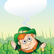 Leprechaun with speech - Stock Vector