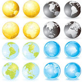 Variety Globes — Stock Vector