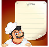 Chef with Blank Menu — Stock Vector