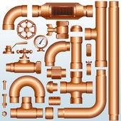 латунных деталей трубопровода — Cтоковый вектор