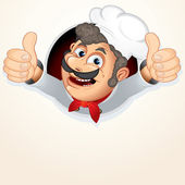Chef Cook showing Thumb up — Stock Vector