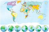 Mapa político mundial — Vector de stock