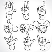 Contour Hands 2 — Stock Vector