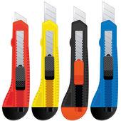 Noże biurowe kolorowe — Wektor stockowy