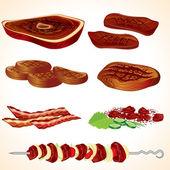 Grilled Meat — Stok Vektör