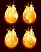 Fire Globe — Stock Vector