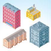 Isometric Buildings — Stock Vector