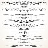 Farklı tasarım süs cetvel çizgileri — Stok Vektör