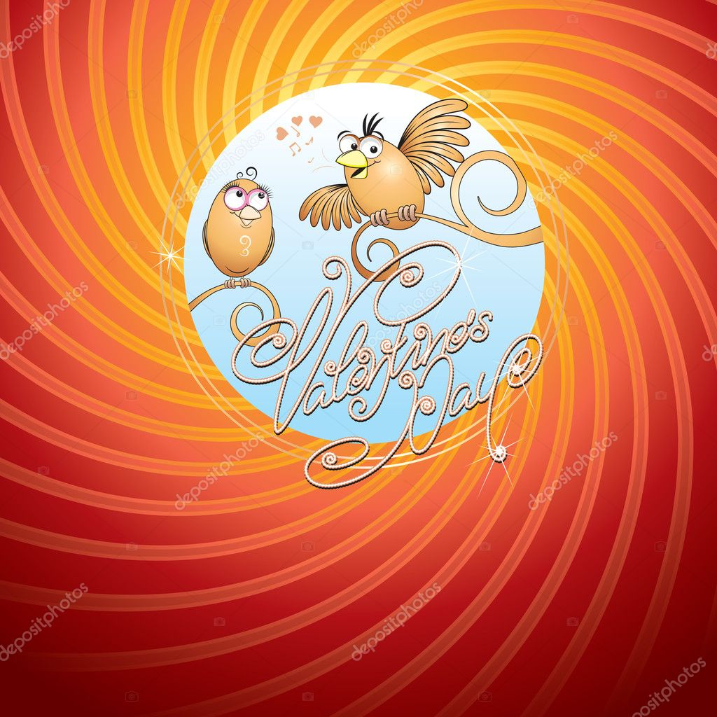 Valentine's card with two cute birds and hand drawn text — Stock Vector #8437882