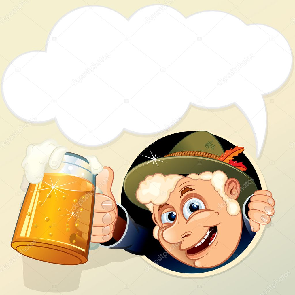 Drunk Man with empty speech bubble for your text.  Stock Vector #8437929
