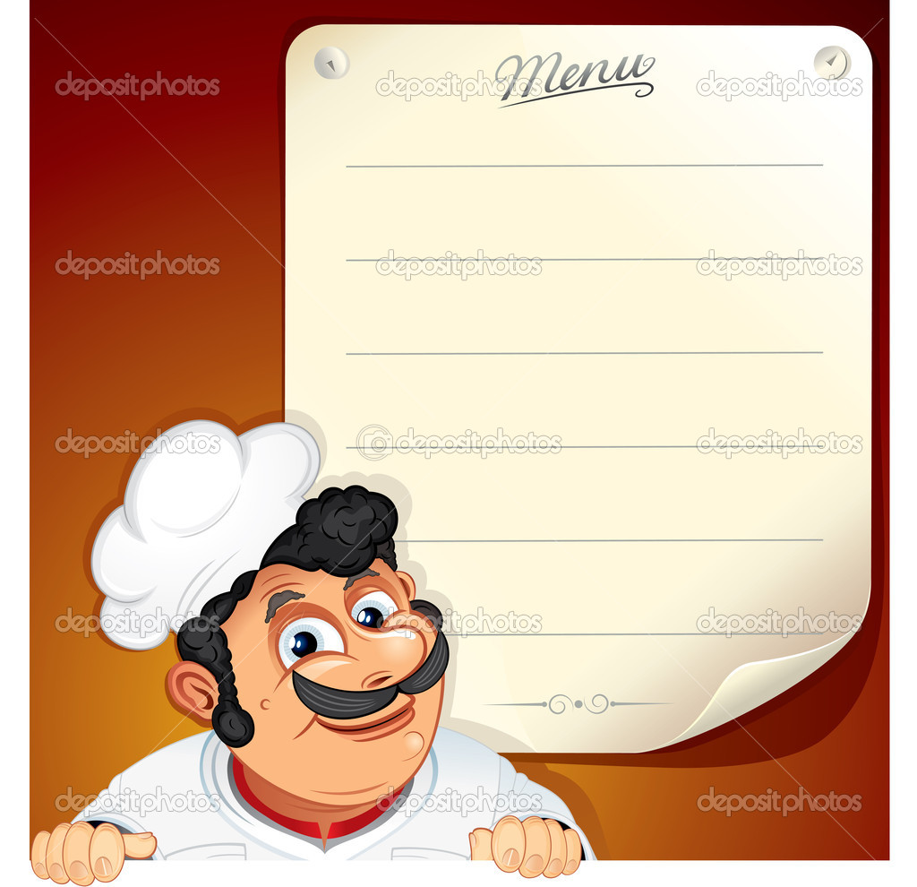 Illustrated Background with Smiling Chef and Blank Menu  Stock Vector #8437986
