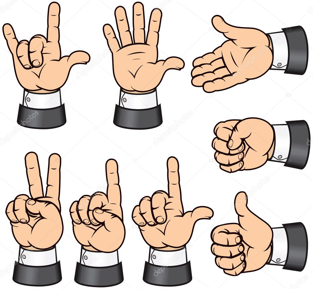Vector collection of detailed isolated Hand Gestures — Stock Vector #8438110