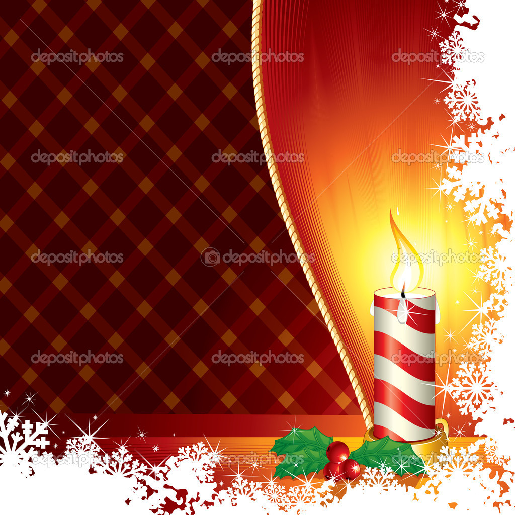 Christmas Candle From Frozen Window - vector with copyspace  Stock Vector #8438134