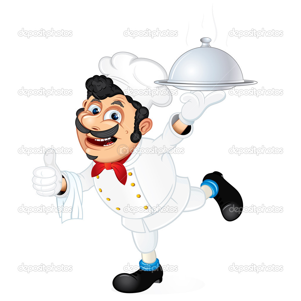 Chef with Food Serving Tray, cartoon vector illustration — Stock Vector #8438417