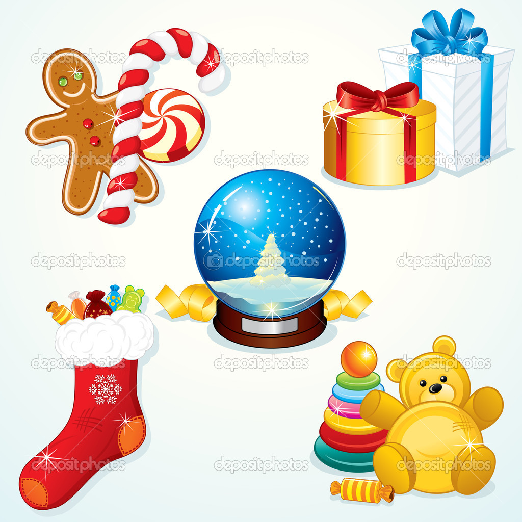 Various Christmas Gifts for your festive design — Stock Vector #8438445