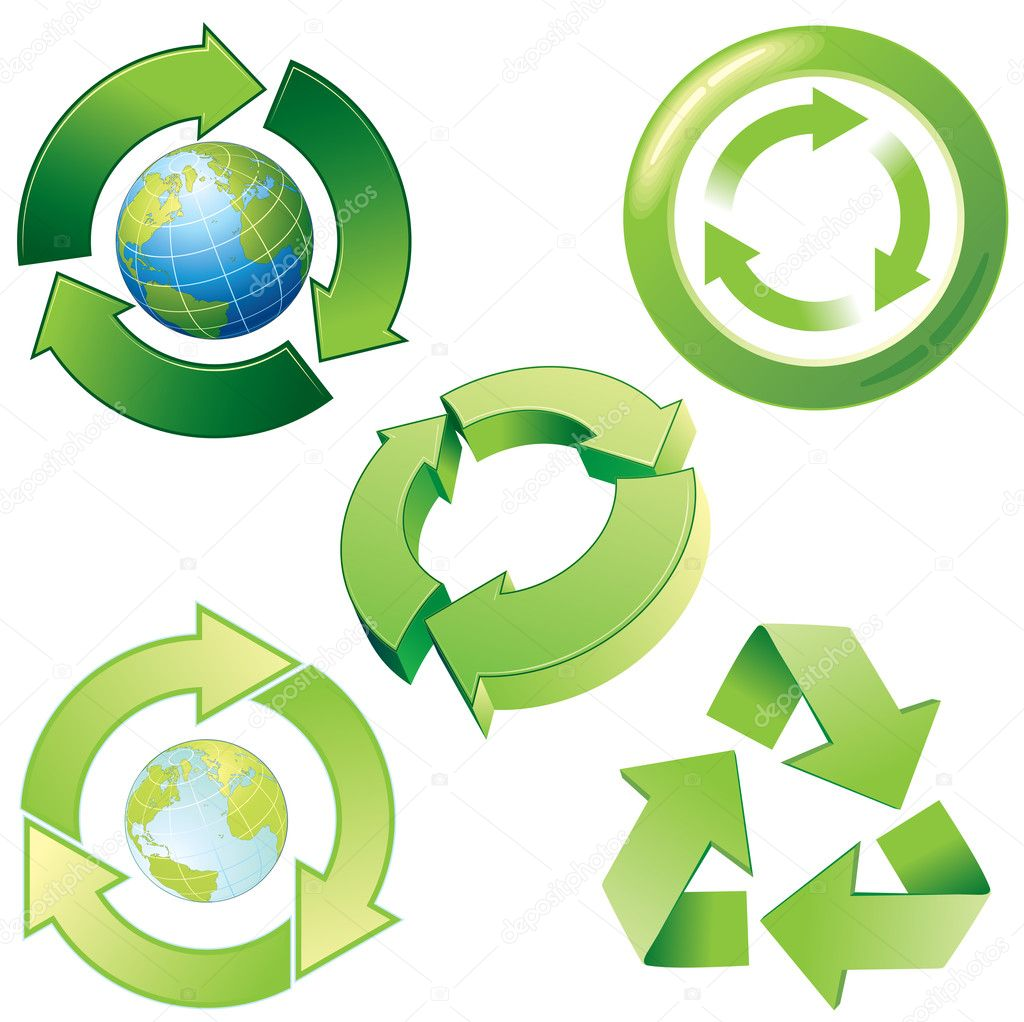 Vector stylized recycling icons and symbols — Stock Vector #8438520