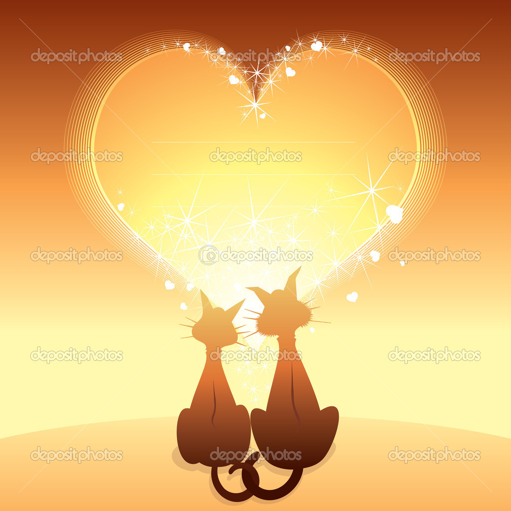 Romantic Card with two domestic cats — Imagen vectorial #8438550