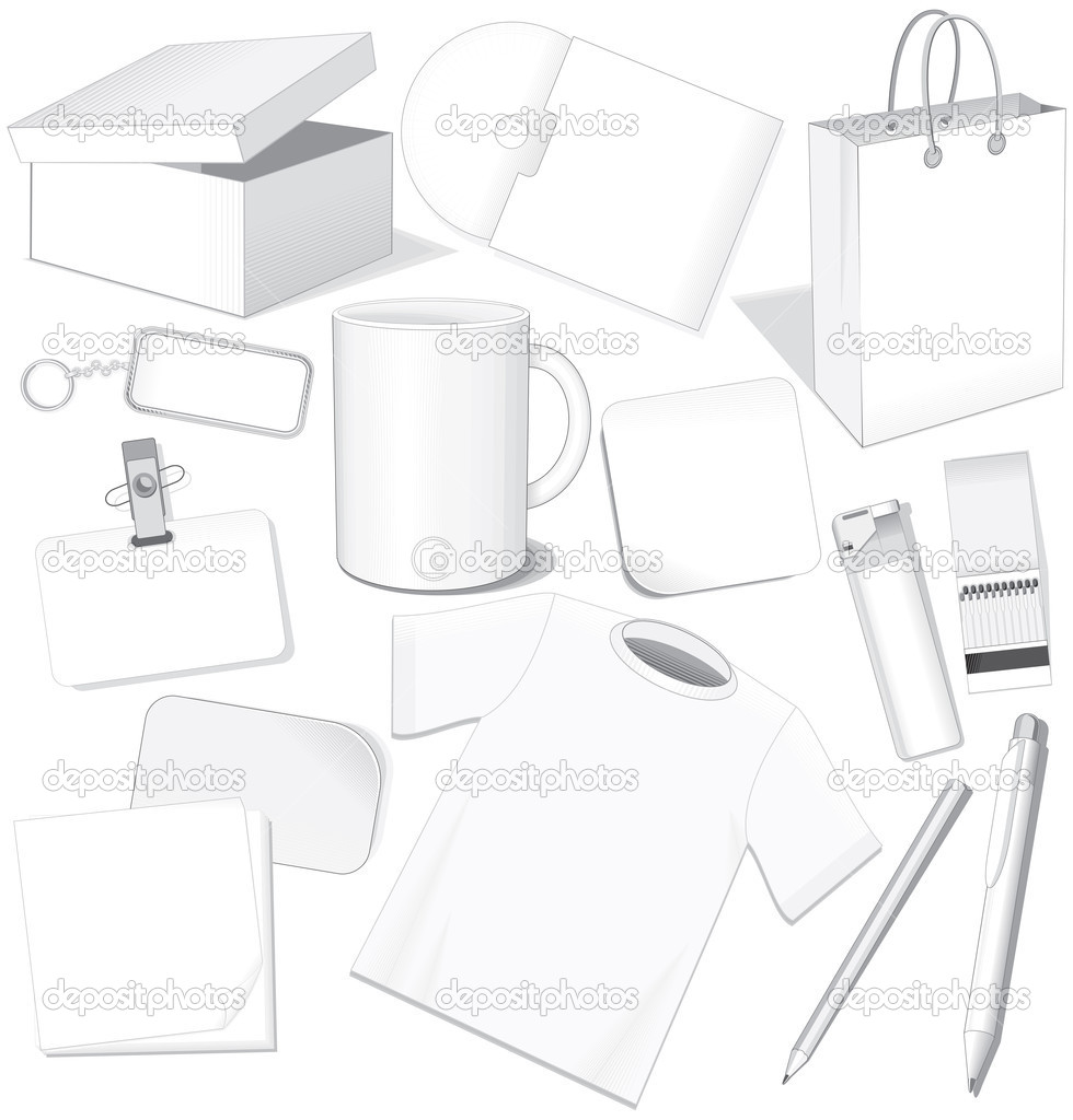 Blank business templates: paper,card,package,cd,cup,pen,layout,t-shirt- easy editable, vector without gradients — Stock Vector #8438561