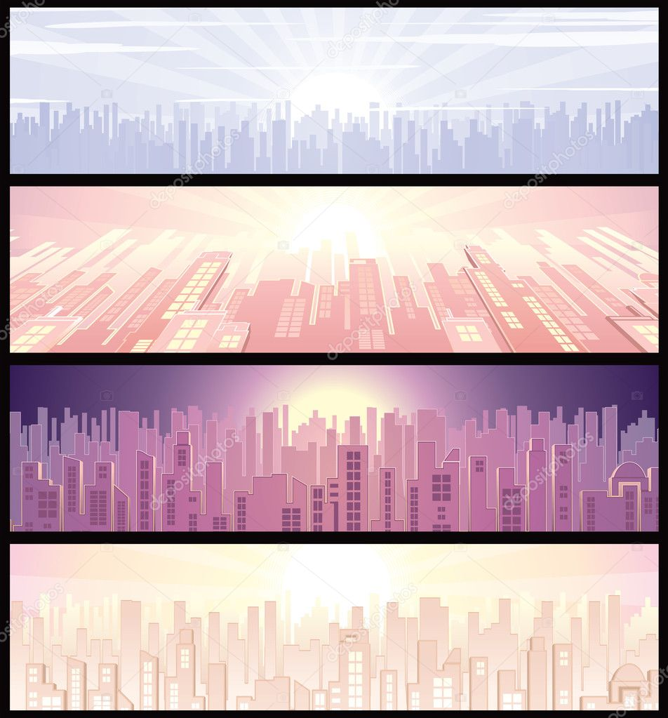Set of urban vector wide backgrounds or banners with cityscape illustration — Stock Vector #8438564