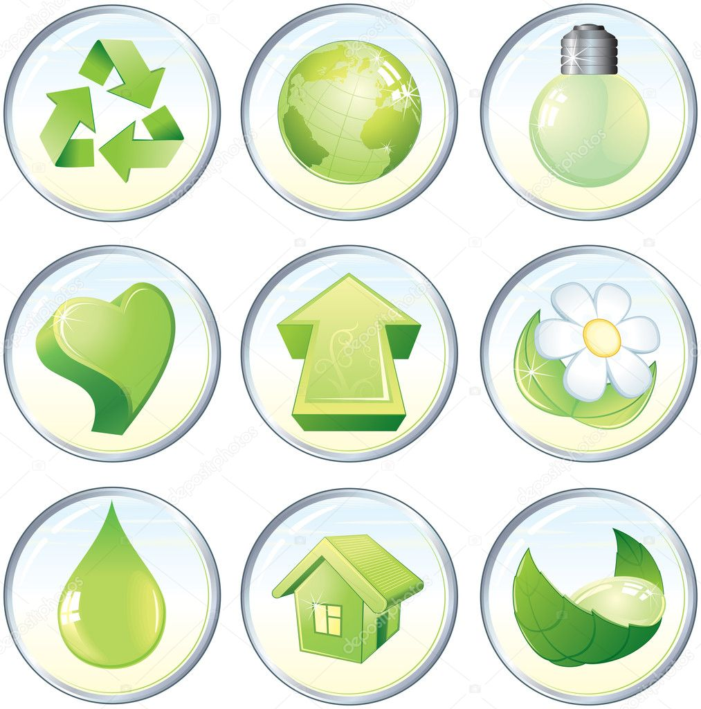 Beauty vector icons, nature green symbols or labels — Stock Vector #8438584