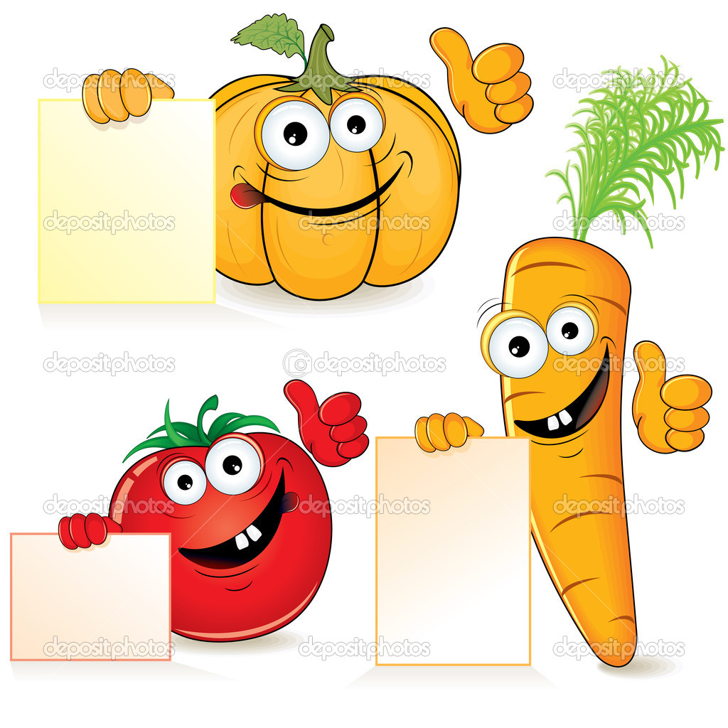 Cute cartoon vegetables with empty paper sign — Stock Vector #8439088