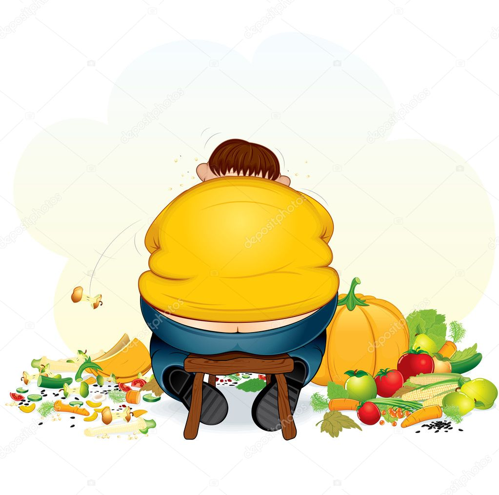 Fatty vegan man eating fruits and vegetable - vector illustration — Stock Vector #8439111