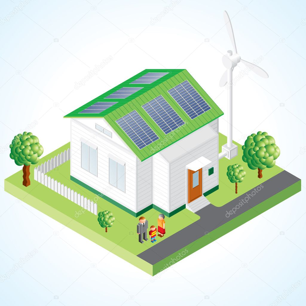 绿房子矢量概念,带有生态设备的小房子: 太阳能电池和风力发电机组 —