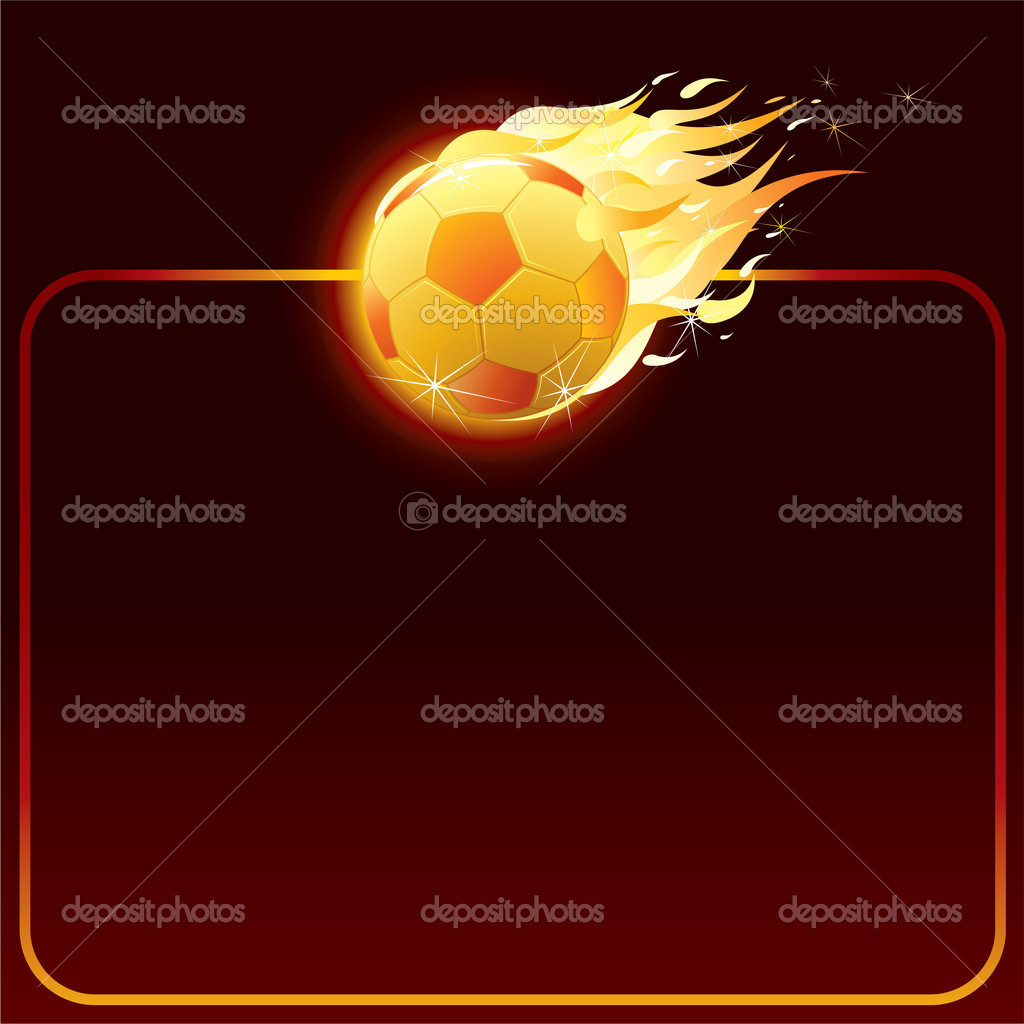 Fiery soccer ball, background for your text — Stock Vector #8439197