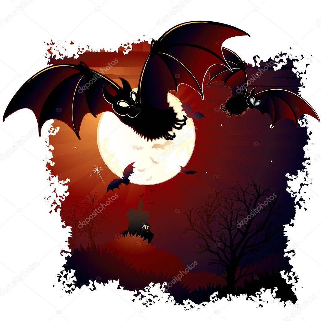 Halloween illustration with swarm of bats, moon, mansion on dark landscape — Stock Vector #8439345