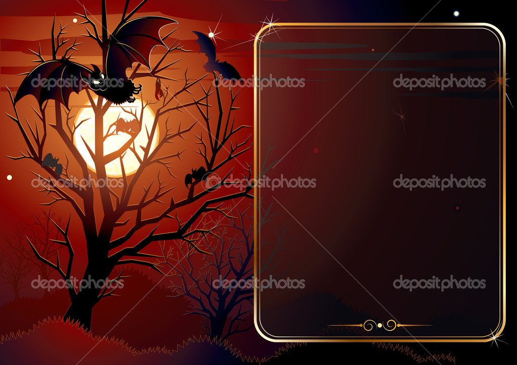 Illustrated Halloween background with area for text — Grafika wektorowa #8439512