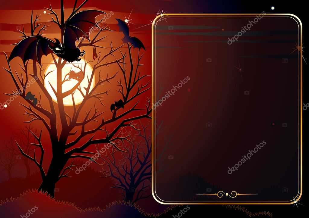 Illustrated Halloween background with area for text — Stok Vektör #8439512
