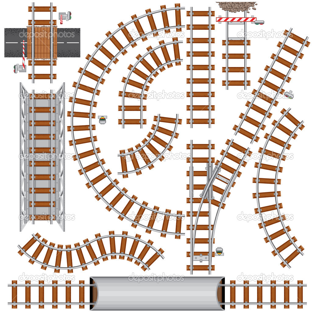 Railroad isolated elements for create your own railway siding. Detailed vector illustration include: train bridge, railroad signal, railway crossing, rail secti  Stock Vector #8439756