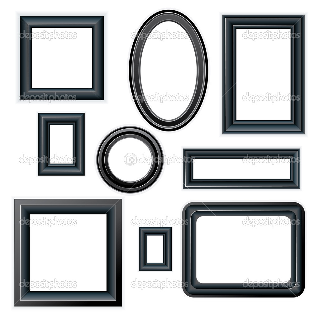 Set of classic beveled black picture frames isolated on white background  Stock Vector #8439970